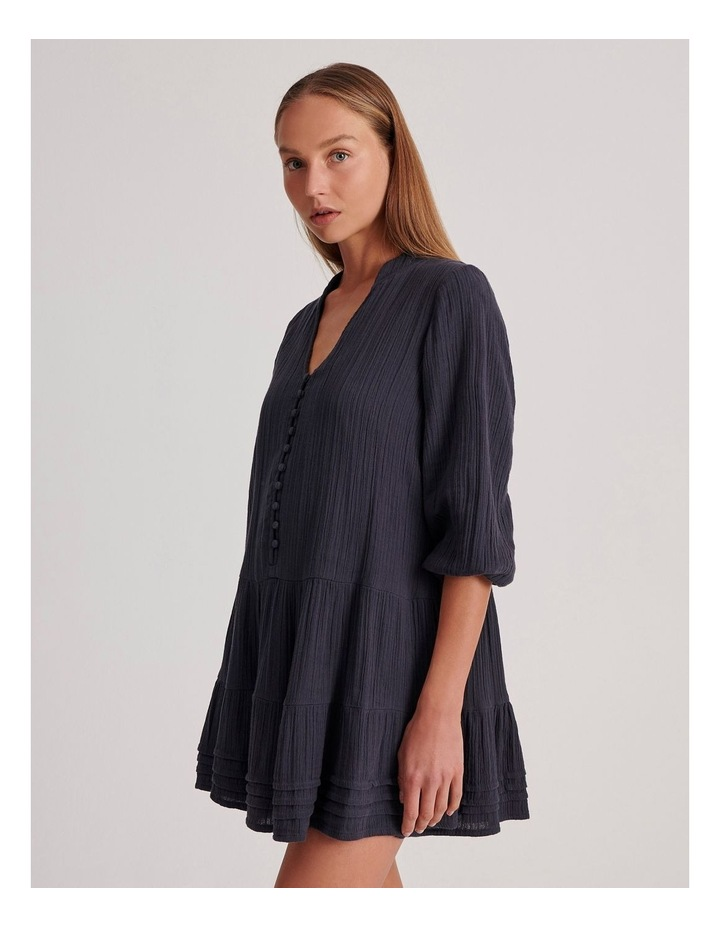 Double Cheesecloth Drop Waist Relaxed Tiered Dress image 3