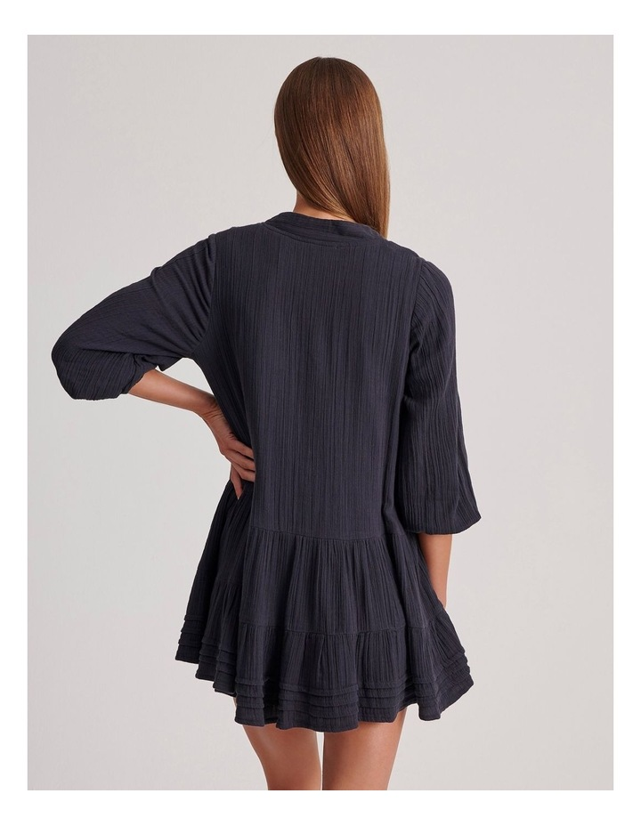 Double Cheesecloth Drop Waist Relaxed Tiered Dress image 4