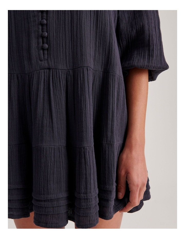 Double Cheesecloth Drop Waist Relaxed Tiered Dress image 5