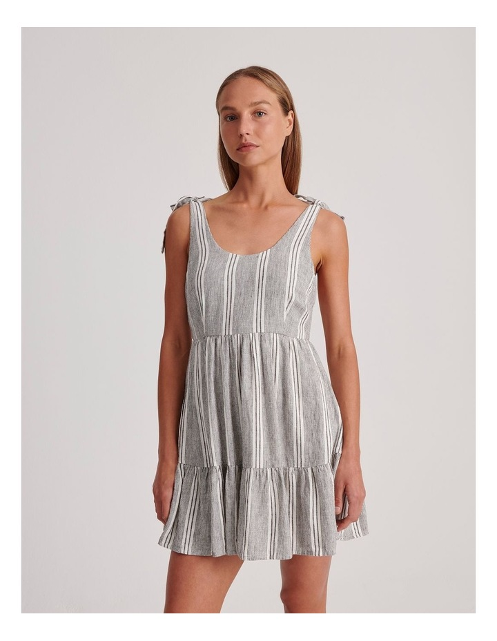 Tie Shoulder Dress in White and Charcoal Stripe image 1