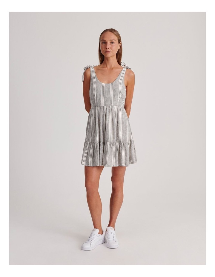 Tie Shoulder Dress in White and Charcoal Stripe image 2