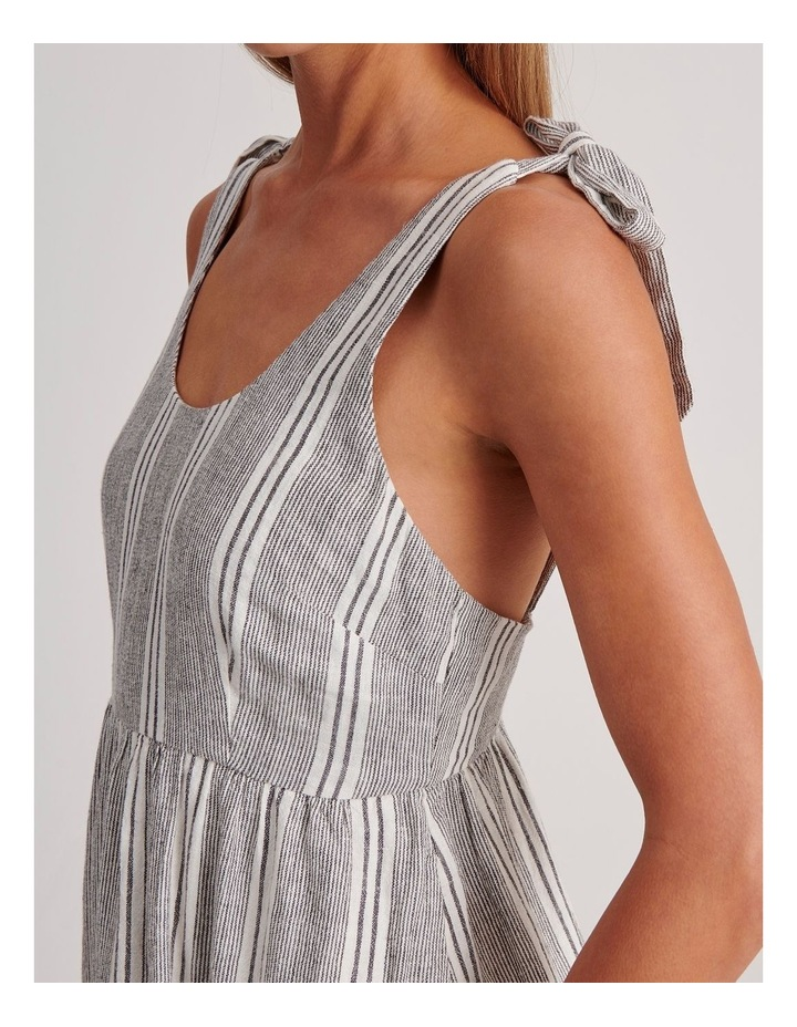 Tie Shoulder Dress in White and Charcoal Stripe image 5