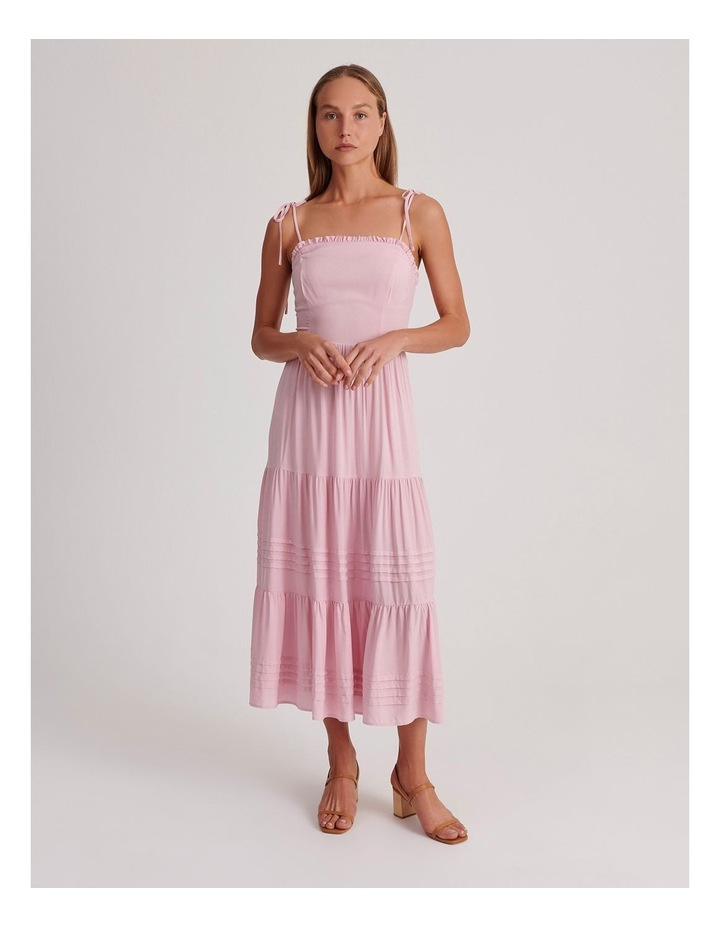 Tiered Midi Dress in Pink image 1