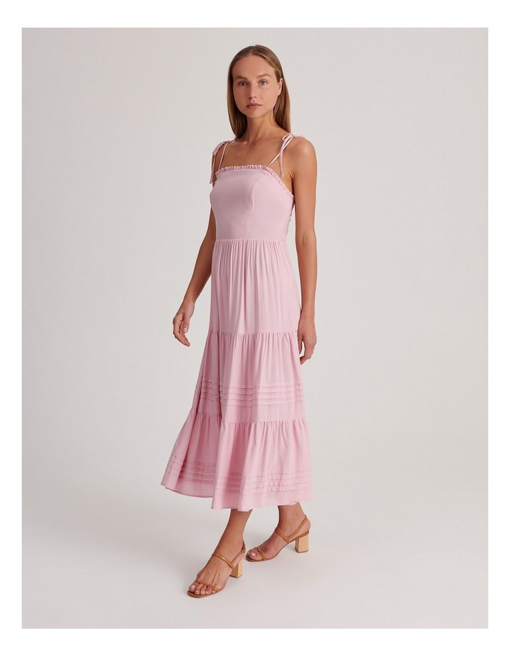 Tiered Midi Dress in Pink image 2