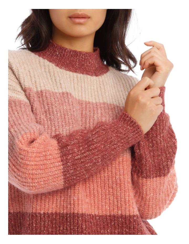 Stand Neck Block Stripe Knit image 4