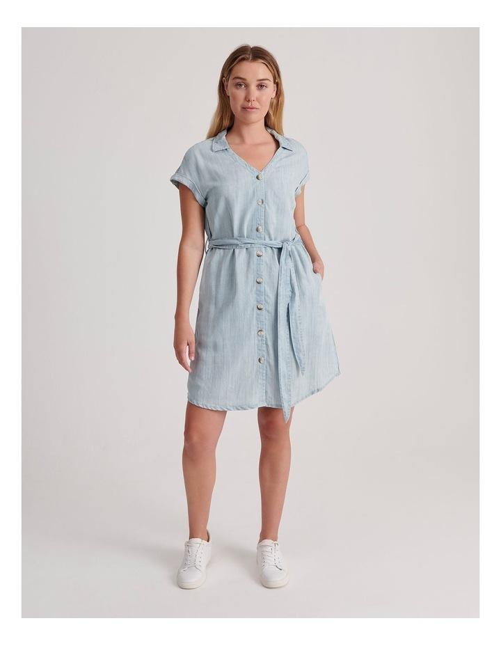 Tie Waist Short Sleeve Chambray Dress image 2