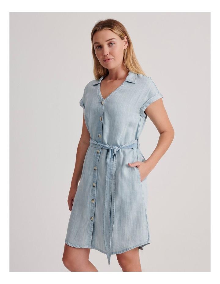 Tie Waist Short Sleeve Chambray Dress image 3