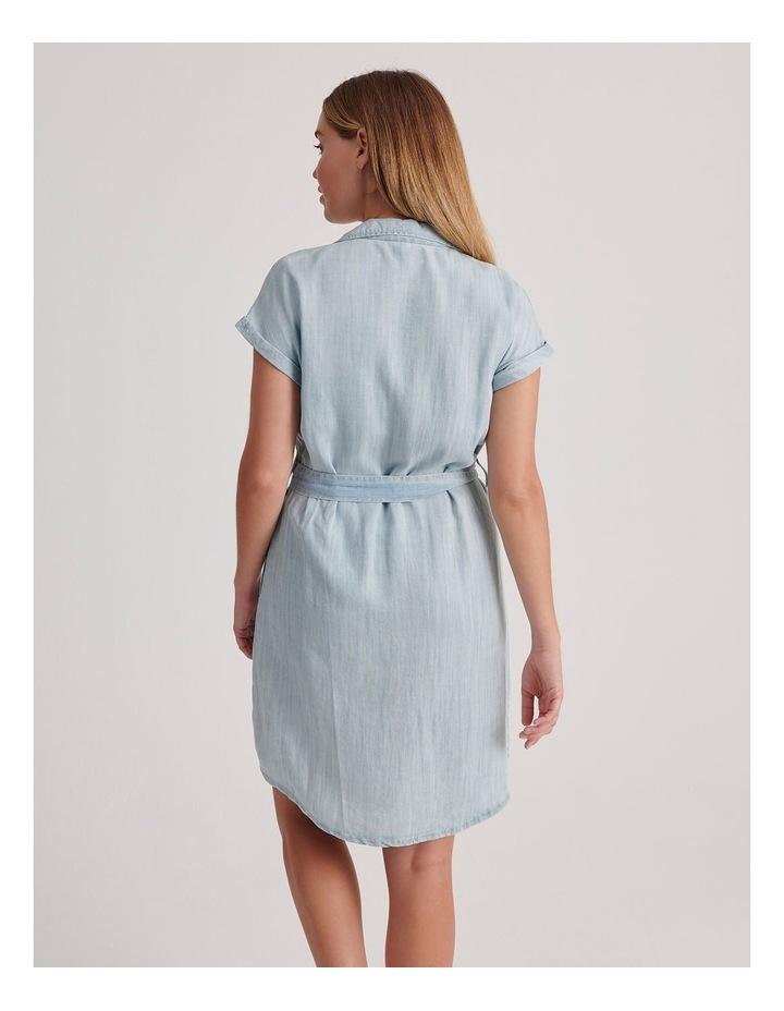 Tie Waist Short Sleeve Chambray Dress image 4
