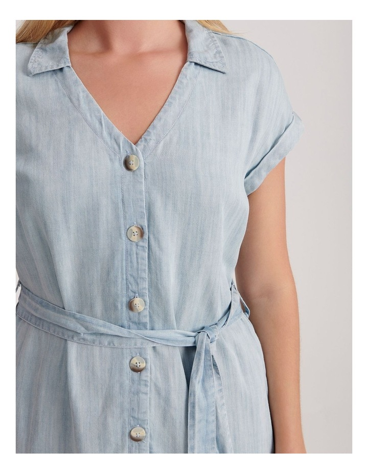 Tie Waist Short Sleeve Chambray Dress image 5