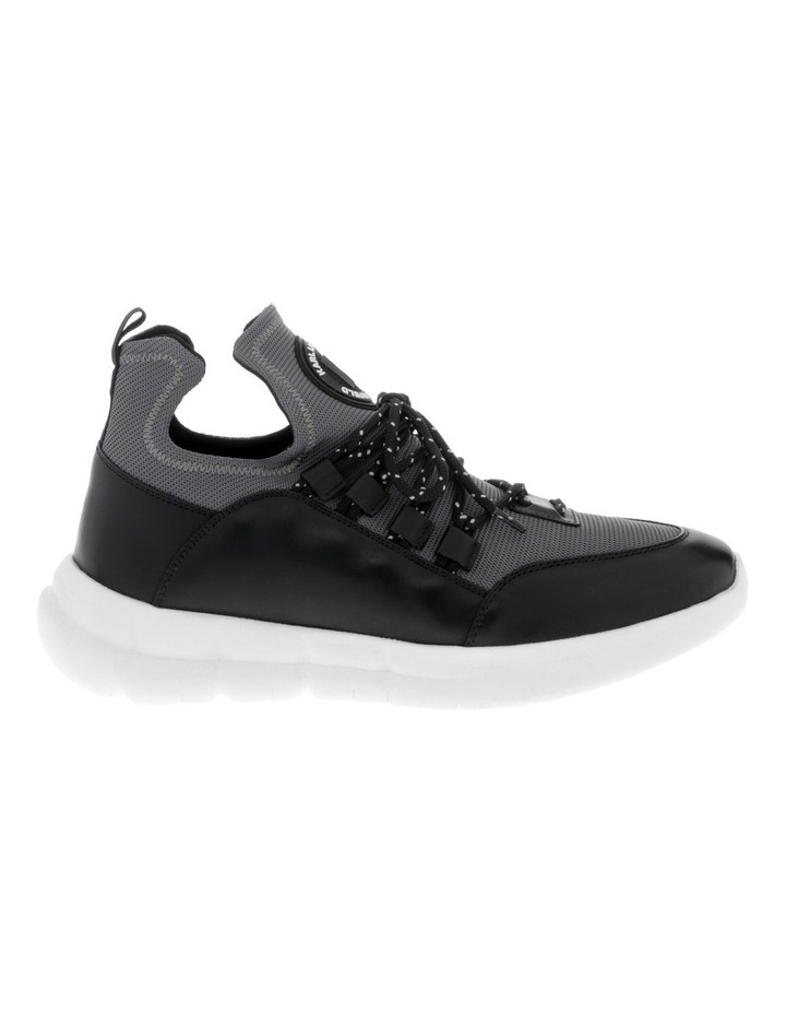 Neoprene Leather Sneaker In Grey With Circle Logo image 1