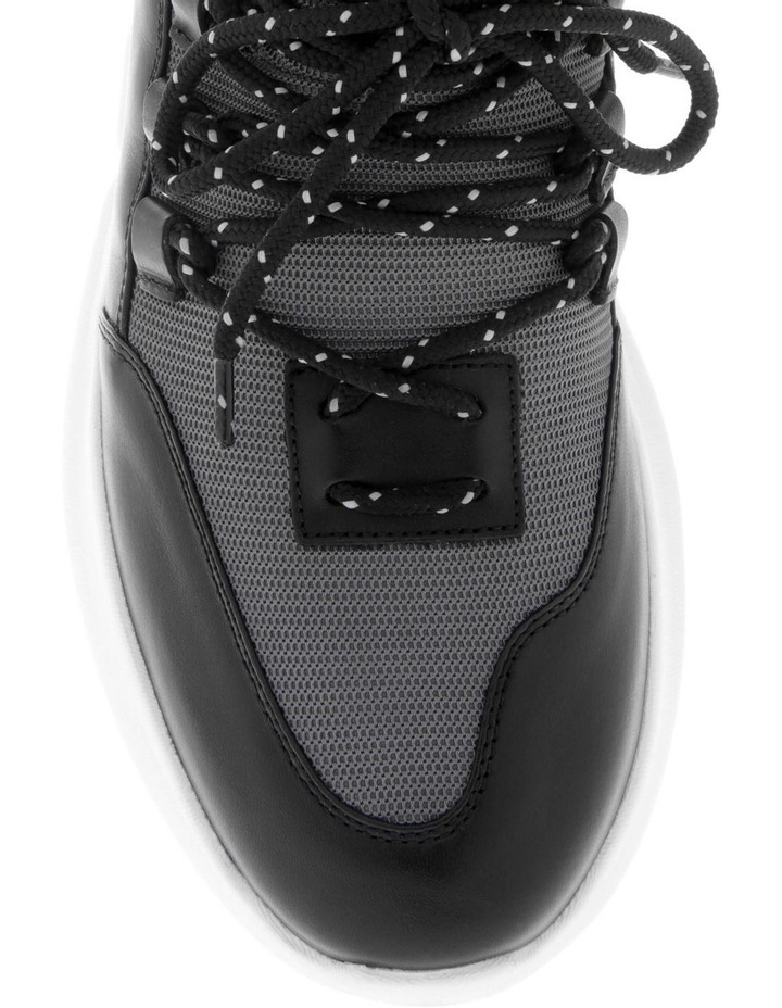 Neoprene Leather Sneaker In Grey With Circle Logo image 3
