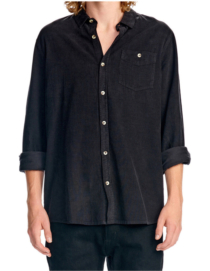 Men At Work Cord Ls Shirt Black image 1