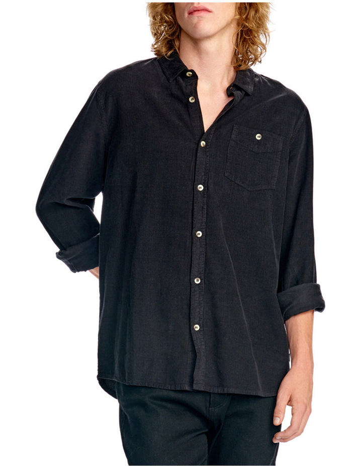 Men At Work Cord Ls Shirt Black image 3