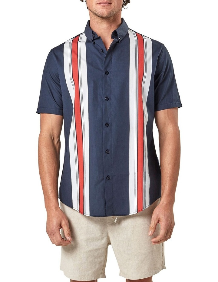 Short Sleeve Engineered Stripe Shirt image 1