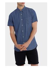 Kenji - Fairfax Spot Short Sleeve Print Denim Shirt