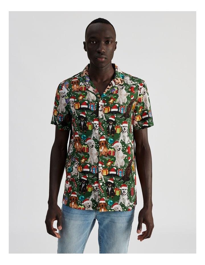 Feliz Navidog All Over Print Short Sleeved Rayon Shirt image 1