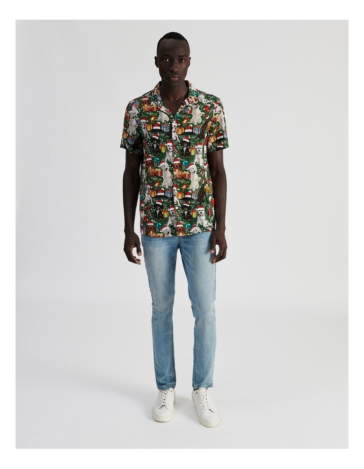 Feliz Navidog All Over Print Short Sleeved Rayon Shirt image 2