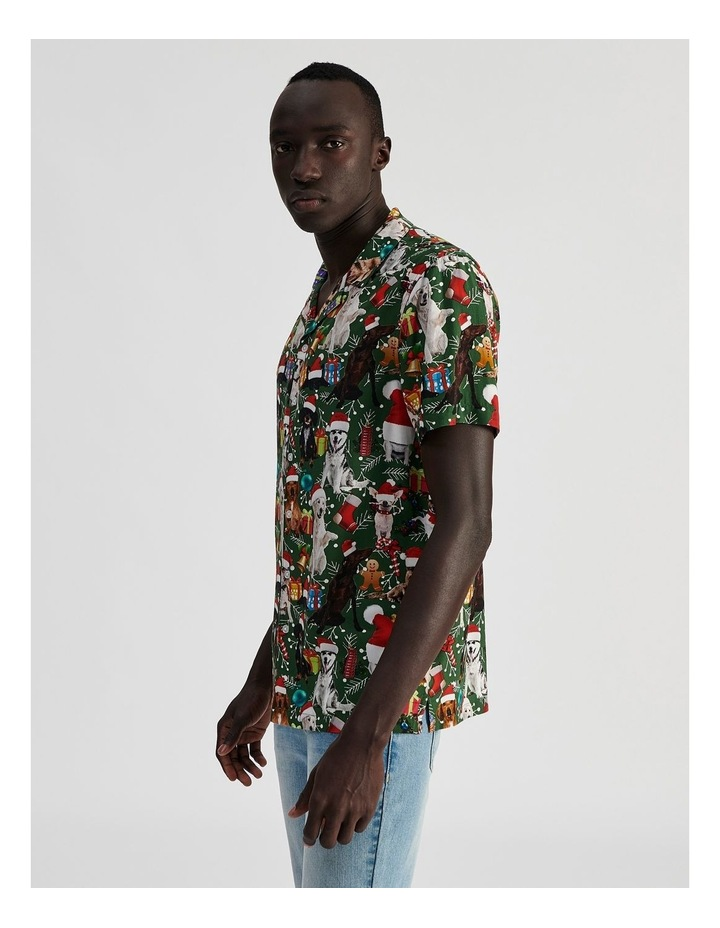 Feliz Navidog All Over Print Short Sleeved Rayon Shirt image 3