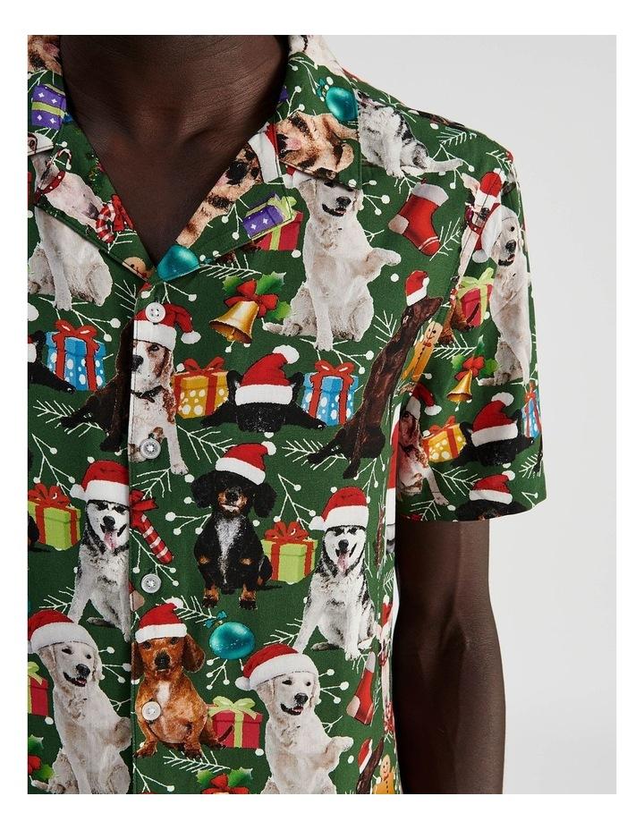 Feliz Navidog All Over Print Short Sleeved Rayon Shirt image 5