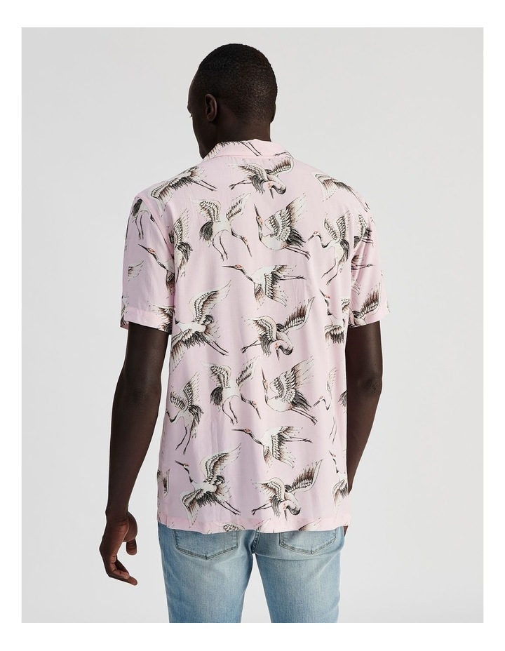 Birds of a Feather Print Short Sleeve Rayon Shirt image 4