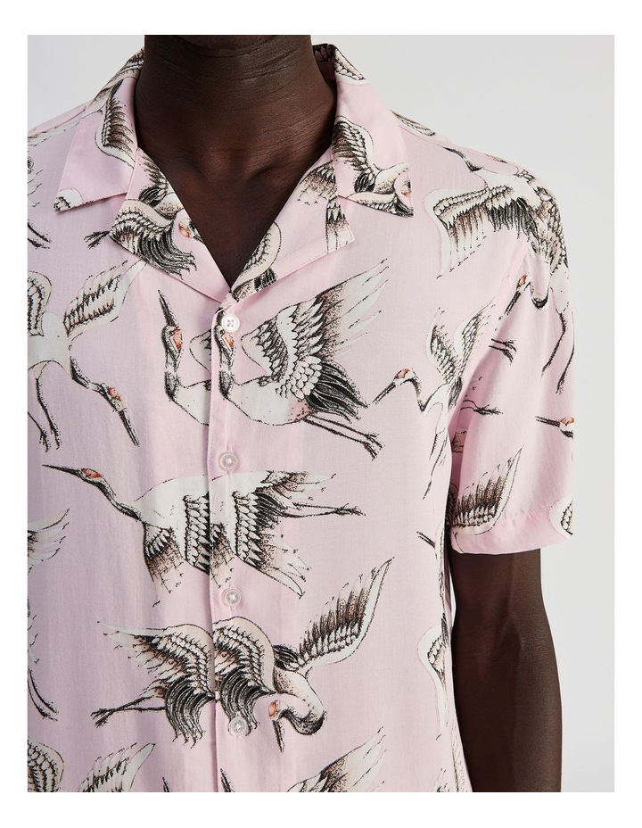 Birds of a Feather Print Short Sleeve Rayon Shirt image 5