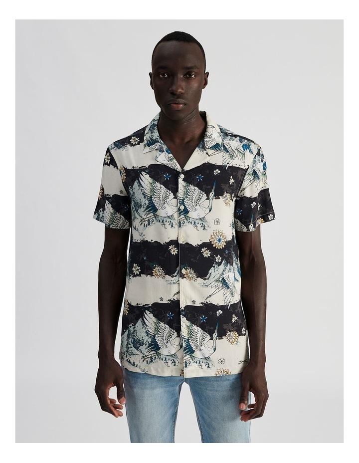 Mountain Crane All Over Print Short Sleeved Rayon Shirt image 1