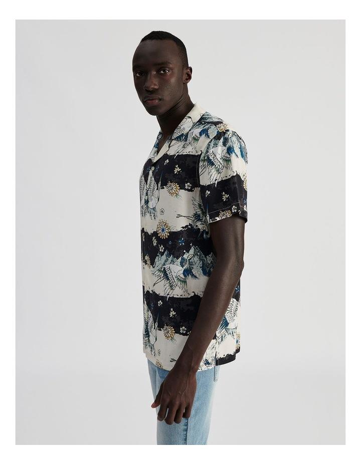 Mountain Crane All Over Print Short Sleeved Rayon Shirt image 3