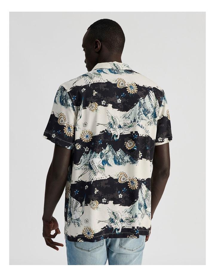 Mountain Crane All Over Print Short Sleeved Rayon Shirt image 4