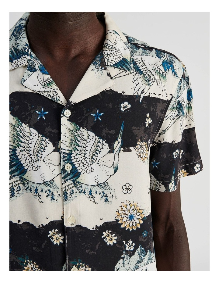 Mountain Crane All Over Print Short Sleeved Rayon Shirt image 5