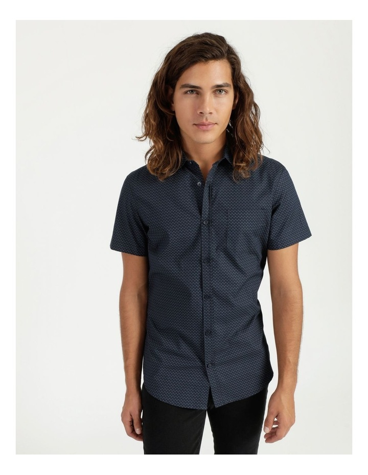 Moe Geo Print Short Sleeve Shirt Navy image 1