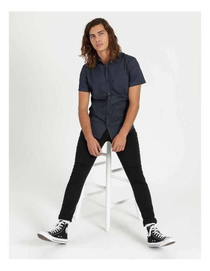 Moe Geo Print Short Sleeve Shirt Navy image 2