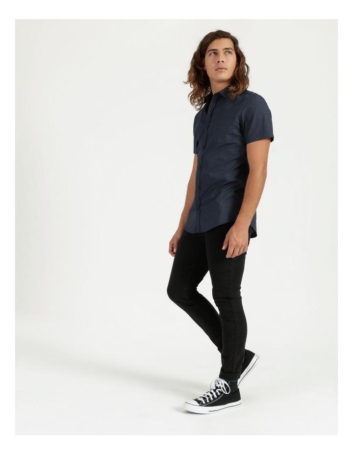 Moe Geo Print Short Sleeve Shirt Navy image 3