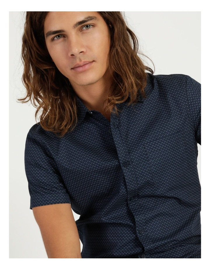 Moe Geo Print Short Sleeve Shirt Navy image 5