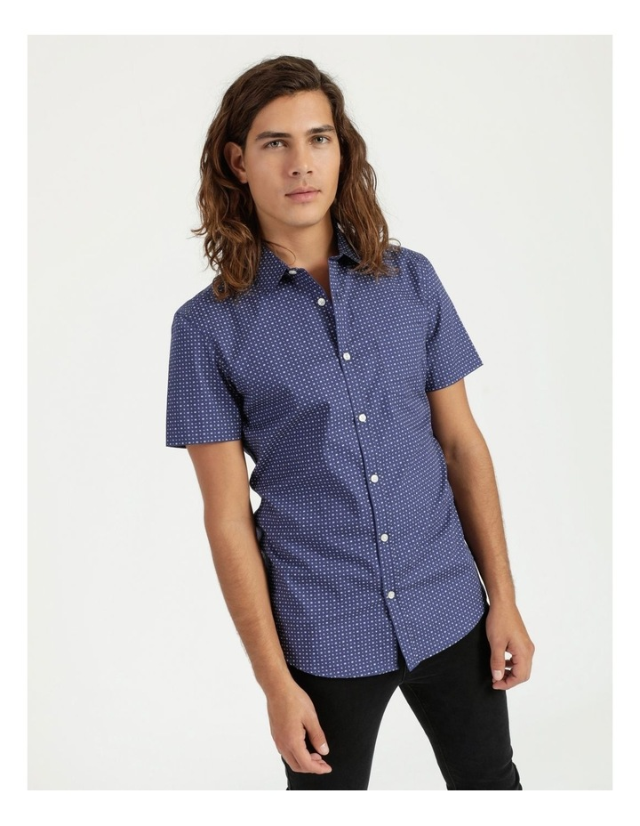 Troy Geo Print Short Sleeve Shirt Blue image 1