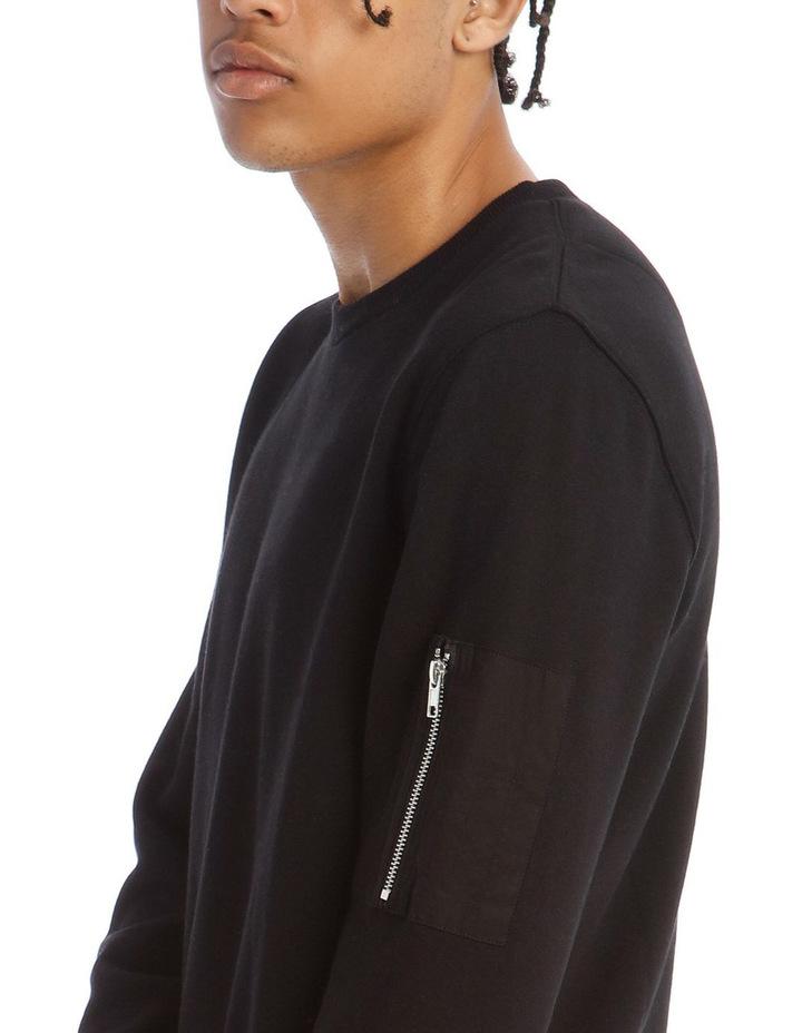 Ramsay Zip Crew Sweat in Black image 4