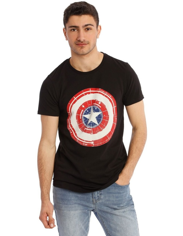 Captain America Shield Placement Print Short Sleeve Tee image 1