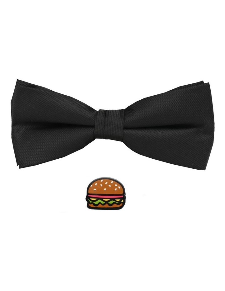 Plain Black Bow Tie With Hamburger Pin image 1