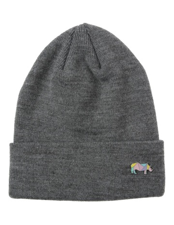 87845956702 Kenji GREY MARLE BEANIE AND ZEBRA PIN SET