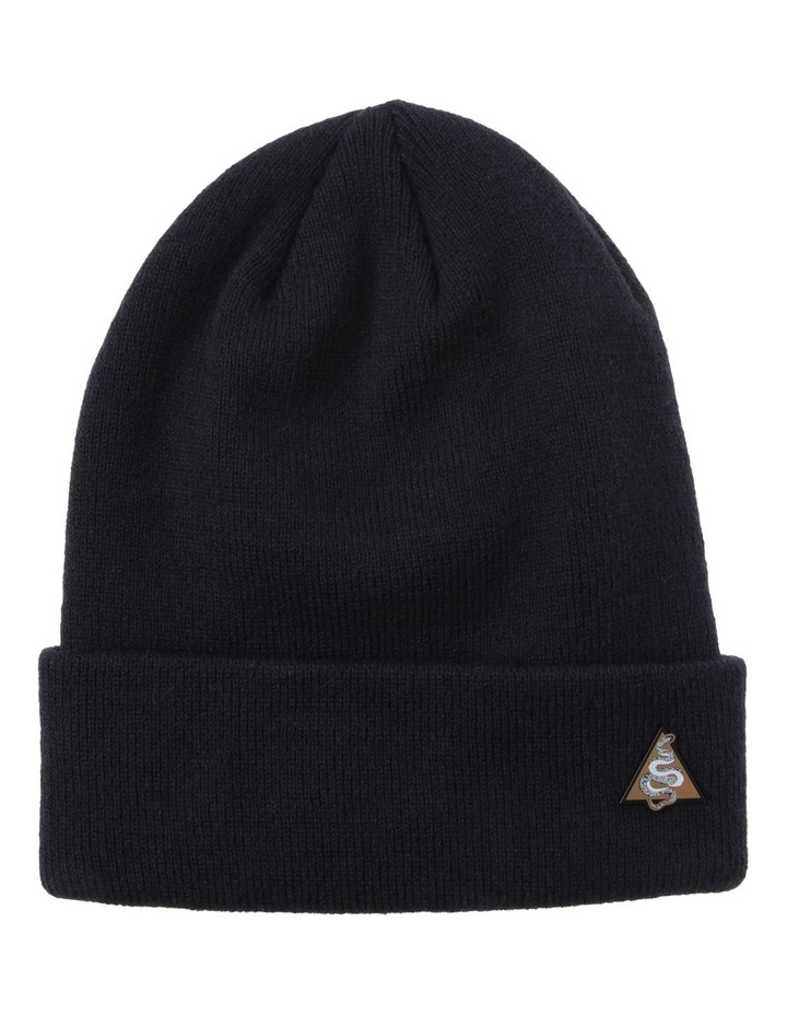 NAVY BEANIE AND SNAKE PIN SET image 1