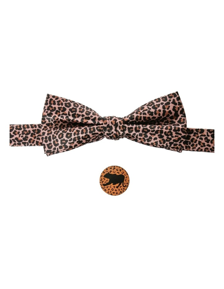LEOPARD PRINT BOWTIE AND PIN SET image 1
