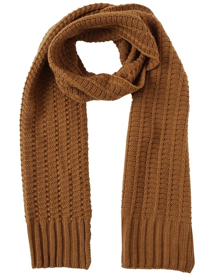 MUSTARD CABLE KNIT SCARF image 1