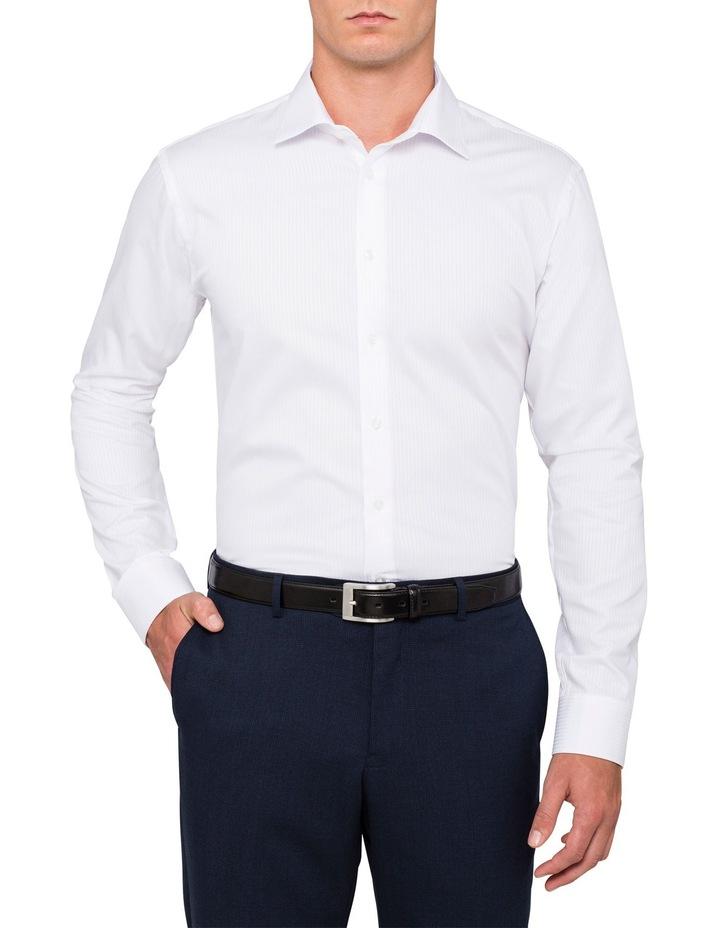 White Self Stripe Business Shirt image 1