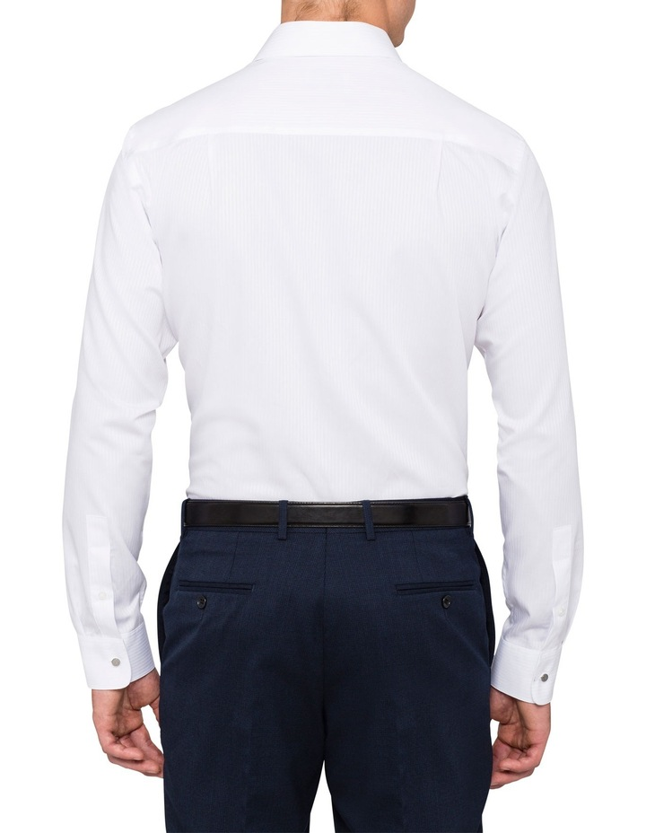 White Self Stripe Business Shirt image 2