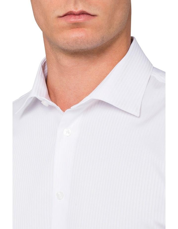 White Self Stripe Business Shirt image 3