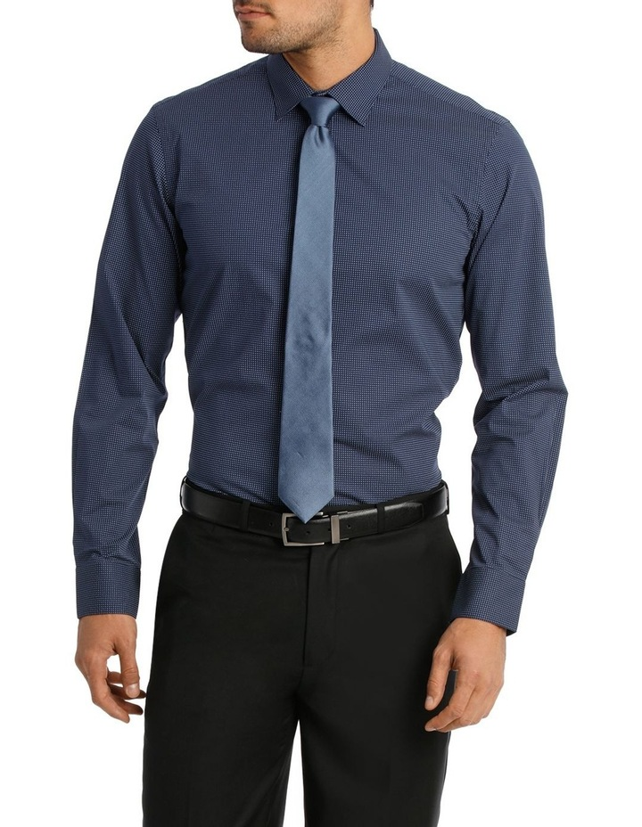 Career Spot Print Stretch Navy Business Shirt image 1