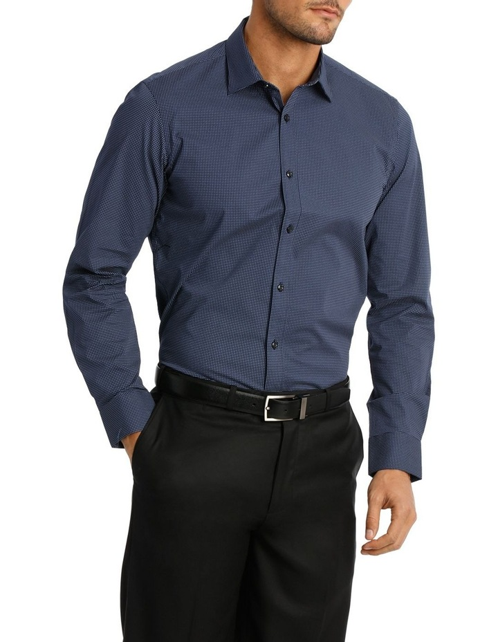 Career Spot Print Stretch Navy Business Shirt image 2