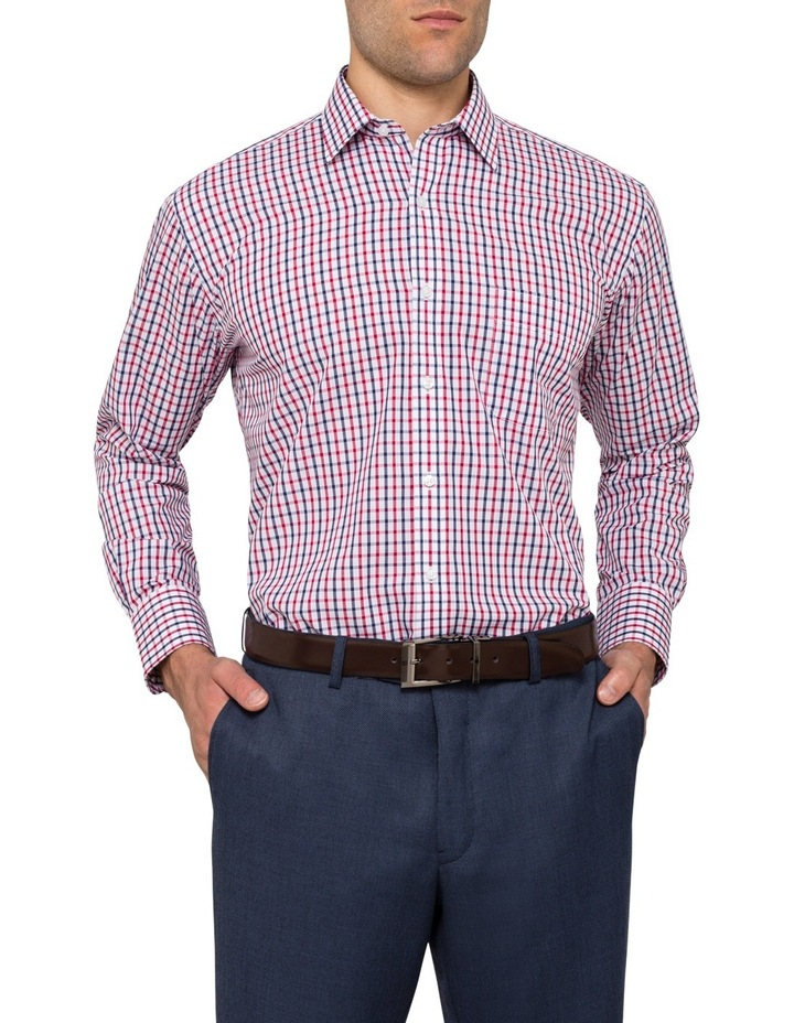 Van Heusen White Ground Navy & Red Check Business Shirt image 1