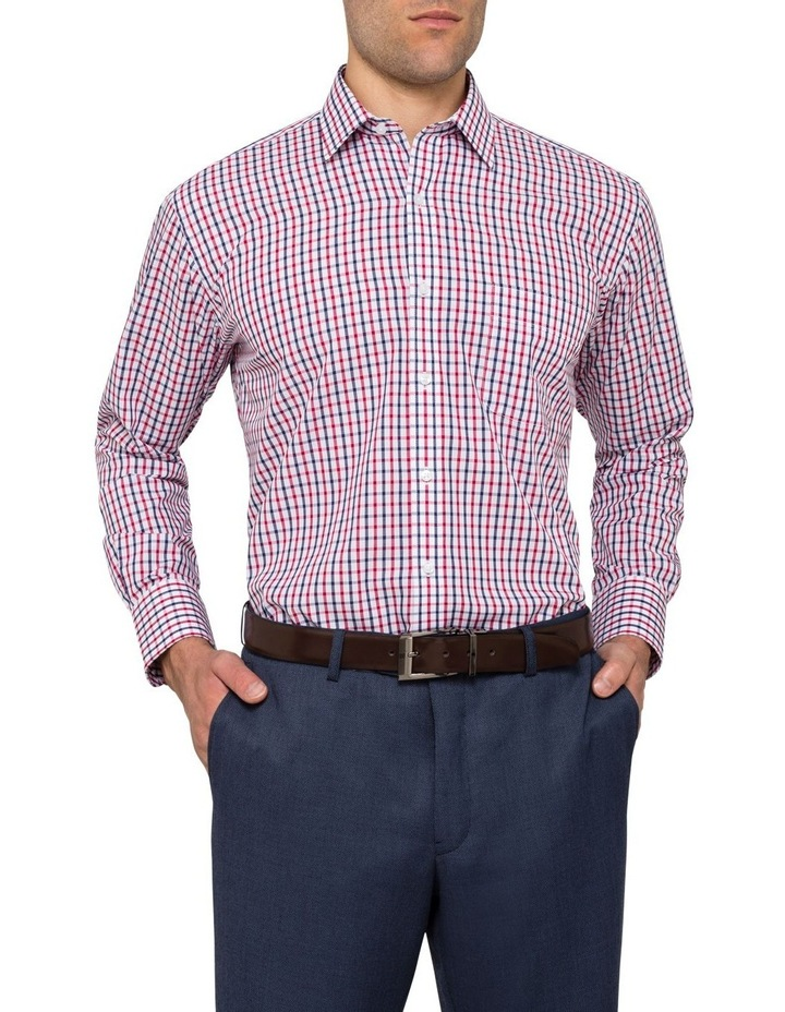 Van Heusen White Ground Navy & Red Check Business Shirt image 2