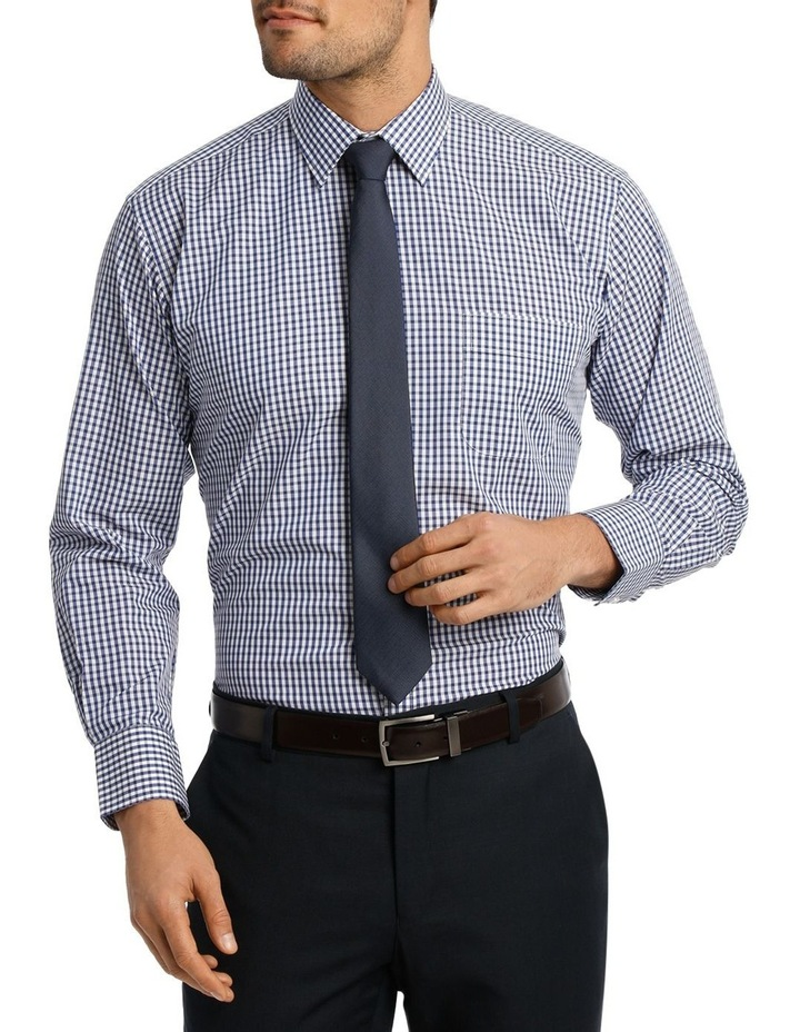 White & Navy Check Business Shirt image 1