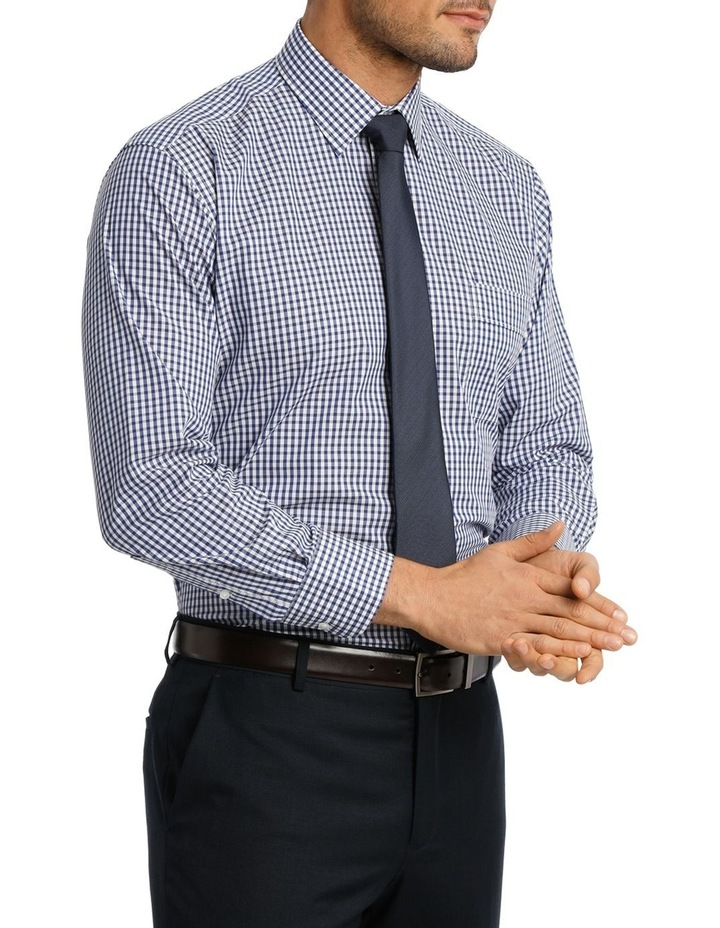 White & Navy Check Business Shirt image 2